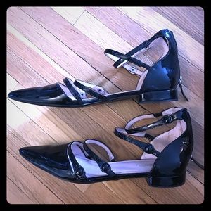 Black patent strappy Zara flats with pointed toe
